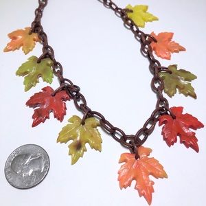 Early celluloid & acrylic leaf vintage necklace